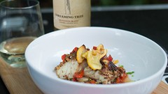 Pecan Crusted White Fish with Charred Tomatoes, Red Peppers and Lemons